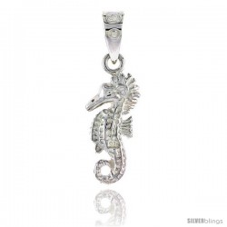 Sterling Silver Seahorse Pendant Flawless Quality, 3/4 in (18 mm) tall