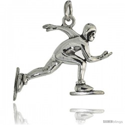 Sterling Silver Speed Skater Pendant Flawless Quality, 1 in (23 mm) tall