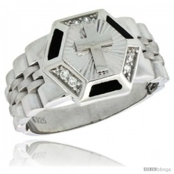 Sterling Silver Men's Style Hexagon Ring CZ Stones, 17/32 in (14 mm) wide