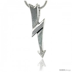 Sterling Silver Lightning Bolt Pendant, 1 in (25 mm) tall