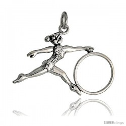 Sterling Silver Gymnast w/ Hula Hoop Pendant Flawless Quality, 7/8 in (22 mm) tall