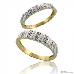 Gold Plated Sterling Silver Diamond 2 Piece Wedding Ring Set His 5mm & Hers 3.5mm -Style Agy117w2