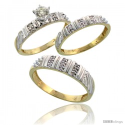 Gold Plated Sterling Silver Diamond Trio Wedding Ring Set His 5mm & Hers 3.5mm -Style Agy117w3