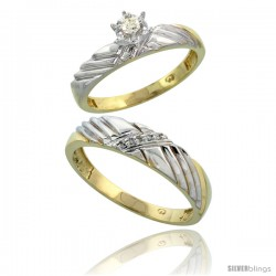Gold Plated Sterling Silver 2-Piece Diamond Wedding Engagement Ring Set for Him & Her, 3.5mm & 5mm wide -Style Agy118em