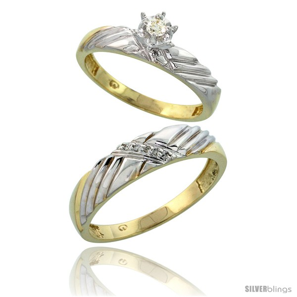 Gold plated sterling silver 2 piece diamond wedding for Diamond wedding ring for him