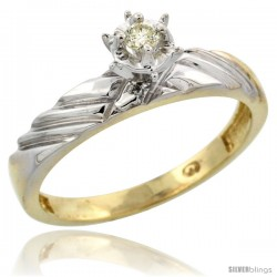 Gold Plated Sterling Silver Diamond Engagement Ring, 1/8 in wide -Style Agy118er