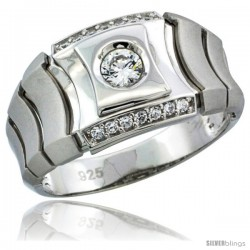 Sterling Silver Men's Style Ring CZ Stones, 1/2 in (12 mm) wide