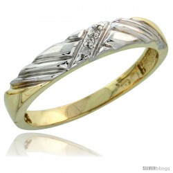Gold Plated Sterling Silver Ladies Diamond Wedding Band, 1/8 in wide -Style Agy118lb