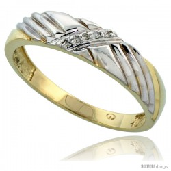 Gold Plated Sterling Silver Mens Diamond Wedding Band, 3/16 in wide -Style Agy118mb