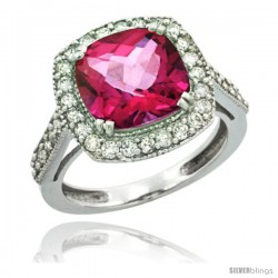 10k White Gold Diamond Halo Pink Topaz Ring Checkerboard Cushion 9 mm 2.4 ct 1/2 in wide