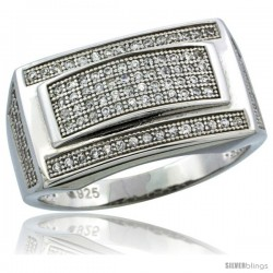 Sterling Silver Men's Rectangular Ring 120 Micro Pave CZ Stones, 1/2 in (12 mm) wide