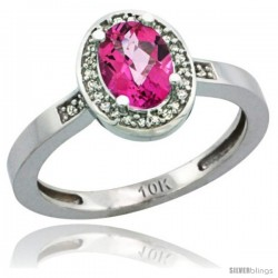 10k White Gold Diamond Pink Topaz Ring 1 ct 7x5 Stone 1/2 in wide