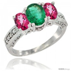 10K White Gold Ladies Oval Natural Emerald 3-Stone Ring with Pink Topaz Sides Diamond Accent