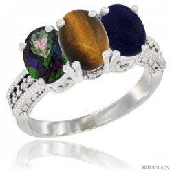 14K White Gold Natural Mystic Topaz, Tiger Eye & Lapis Ring 3-Stone 7x5 mm Oval Diamond Accent