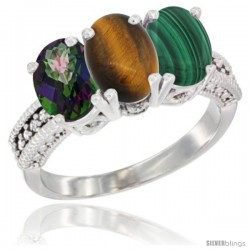 14K White Gold Natural Mystic Topaz, Tiger Eye & Malachite Ring 3-Stone 7x5 mm Oval Diamond Accent
