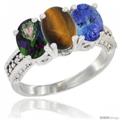 14K White Gold Natural Mystic Topaz, Tiger Eye & Tanzanite Ring 3-Stone 7x5 mm Oval Diamond Accent