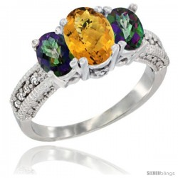 14k White Gold Ladies Oval Natural Whisky Quartz 3-Stone Ring with Mystic Topaz Sides Diamond Accent