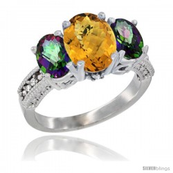 14K White Gold Ladies 3-Stone Oval Natural Whisky Quartz Ring with Mystic Topaz Sides Diamond Accent