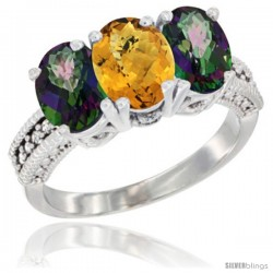 14K White Gold Natural Whisky Quartz & Mystic Topaz Sides Ring 3-Stone 7x5 mm Oval Diamond Accent
