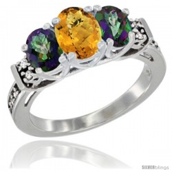 14K White Gold Natural Whisky Quartz & Mystic Topaz Ring 3-Stone Oval with Diamond Accent