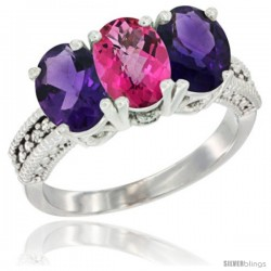 14K White Gold Natural Pink Topaz & Amethyst Ring 3-Stone 7x5 mm Oval Diamond Accent