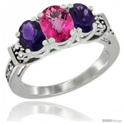 14K White Gold Natural Pink Topaz & Amethyst Ring 3-Stone Oval with Diamond Accent