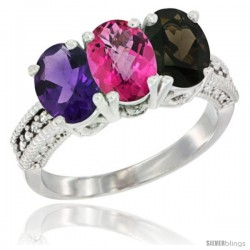 14K White Gold Natural Amethyst, Pink Topaz & Smoky Topaz Ring 3-Stone 7x5 mm Oval Diamond Accent