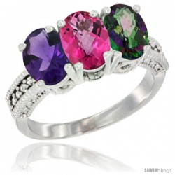 14K White Gold Natural Amethyst, Pink Topaz & Mystic Topaz Ring 3-Stone 7x5 mm Oval Diamond Accent