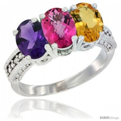 14K White Gold Natural Amethyst, Pink Topaz & Citrine Ring 3-Stone 7x5 mm Oval Diamond Accent