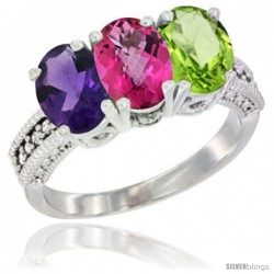 14K White Gold Natural Amethyst, Pink Topaz & Peridot Ring 3-Stone 7x5 mm Oval Diamond Accent