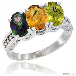 14K White Gold Natural Mystic Topaz, Whisky Quartz & Lemon Quartz Ring 3-Stone 7x5 mm Oval Diamond Accent