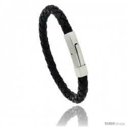 Stainless Steel Leather Braid Bracelet Color Black, 5/16 in wide