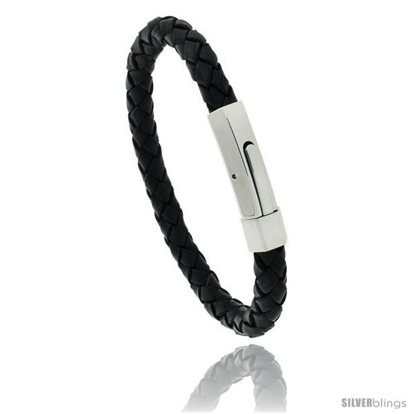 https://www.silverblings.com/775-thickbox_default/stainless-steel-leather-braid-bracelet-color-black-5-16-in-wide.jpg