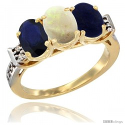 10K Yellow Gold Natural Blue Sapphire, Opal & Lapis Ring 3-Stone Oval 7x5 mm Diamond Accent