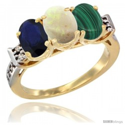 10K Yellow Gold Natural Blue Sapphire, Opal & Malachite Ring 3-Stone Oval 7x5 mm Diamond Accent