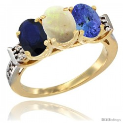 10K Yellow Gold Natural Blue Sapphire, Opal & Tanzanite Ring 3-Stone Oval 7x5 mm Diamond Accent