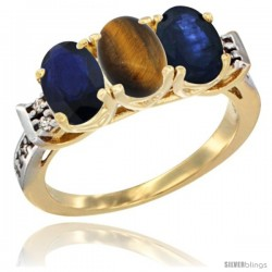 10K Yellow Gold Natural Tiger Eye & Blue Sapphire Sides Ring 3-Stone Oval 7x5 mm Diamond Accent