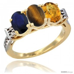 10K Yellow Gold Natural Blue Sapphire, Tiger Eye & Whisky Quartz Ring 3-Stone Oval 7x5 mm Diamond Accent