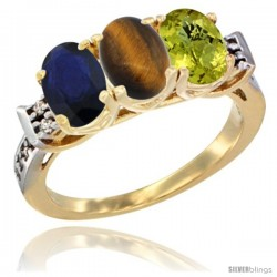 10K Yellow Gold Natural Blue Sapphire, Tiger Eye & Lemon Quartz Ring 3-Stone Oval 7x5 mm Diamond Accent
