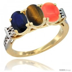 10K Yellow Gold Natural Blue Sapphire, Tiger Eye & Coral Ring 3-Stone Oval 7x5 mm Diamond Accent