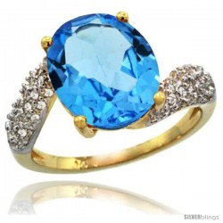 14k Gold Natural Swiss Blue Topaz Ring 12x10 mm Oval Shape Diamond Halo, 1/2inch wide