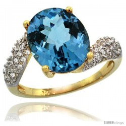 14k Gold Natural London Blue Topaz Ring 12x10 mm Oval Shape Diamond Halo, 1/2inch wide