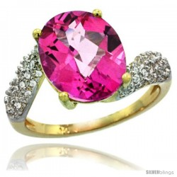14k Gold Natural Pink Topaz Ring 12x10 mm Oval Shape Diamond Halo, 1/2inch wide