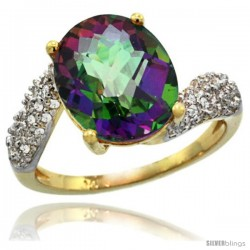 14k Gold Natural Mystic Topaz Ring 12x10 mm Oval Shape Diamond Halo, 1/2inch wide