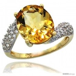 14k Gold Natural Citrine Ring 12x10 mm Oval Shape Diamond Halo, 1/2inch wide