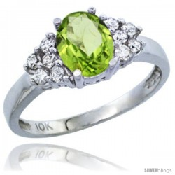10K White Gold Natural Peridot Ring Oval 8x6 Stone Diamond Accent