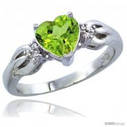 10K White Gold Natural Peridot Ring Heart-shape 7x7 Stone Diamond Accent