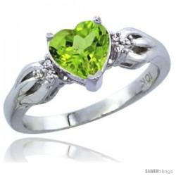 10K White Gold Natural Peridot Ring Heart-shape 7x7 Stone Diamond Accent