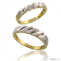 10k Yellow Gold Diamond Wedding Rings 2-Piece set for him 5 mm & Her 4 mm 0.05 cttw Brilliant Cut