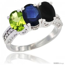 10K White Gold Natural Peridot, Blue Sapphire & Black Onyx Ring 3-Stone Oval 7x5 mm Diamond Accent